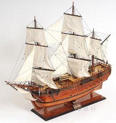 "CaptJimsCargo - James Cook's HMS HM Bark Endeavour 38"" Wood Tall Ship Model Sailboat, (http://www.captjimscargo.com/model-tall-ships/exploration-ships/james-cooks-hms-hm-bark-endeavour-38-wood-tall-ship-model-sailboat/) The tall ship model is built exactly to scale as the original HMS Endeavour was with many details."