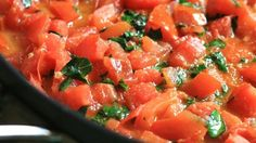 Fresh tomatoes and basil are quickly simmered with garlic to make a tasty pasta sauce.
