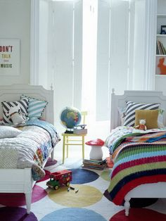 Colorful Bedroom Flooring for Shared Kids