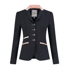 """Steal the show with this stunning navy jacket with rose gold trim and details. """"Juuls are recognizable by the beautiful fit and luxurious look! The material used is the most breathable in equestrian sport. Equestrian Boots, Equestrian Outfits, Equestrian Style, Equestrian Fashion, Riding Jacket, Riding Breeches, Gold Blazer, Show Jackets, Custom Boots"""