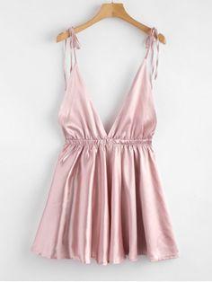 Backless Satin Tie Shoulder Pajama Dress - Pink - Pink M - zaful Satin Pyjama Set, Satin Pajamas, Pajama Set, Pijamas Women, Cute Sleepwear, Womens Pyjama Sets, Cute Pajamas, Trendy Swimwear, Lingerie Outfits