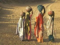 size: Photographic Print: Girls Wearing Sari with Water Jars Walking in the Desert, Pushkar, Rajasthan, India by Keren Su : Artists We Are The World, People Of The World, India Poster, Great Pictures, Interesting Photos, Cool Posters, African Art, Painting Inspiration, Female Art