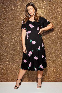 8eca2f65b2 Plus Size Black   Pink Floral Midi Dress