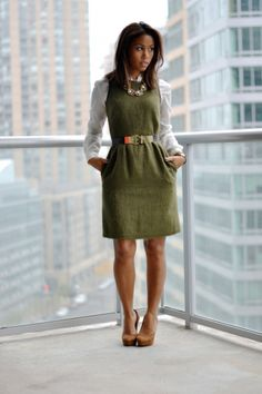 olive green dress, mohair, leather