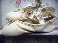 Altered ballet pointe/toe shoes cream color by LittleBeachDesigns
