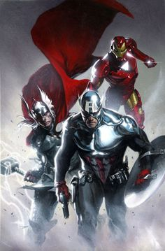 The Big 3: Thor, Iron Man, and Captain America (Bucky)