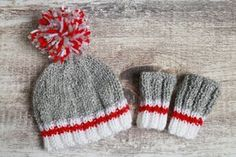 Hand Knit Newborn Hat Men's Work Socks Style by TuquesEtBoutons Knit Baby Sweaters, Baby Hats Knitting, Loom Knitting, Free Knitting, Knitted Hats, Crochet Hats, Sock Monkey Pattern, Crochet Sock Monkeys, Christmas Knitting Patterns