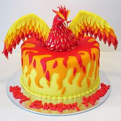 phoenix rising phoenix bursting out of a fiery cake. 6th Birthday Cakes, 8th Birthday, Birthday Ideas, Cake Competition, Party Cakes, Fun Cakes, Harry Potter Theme, Cake Shop, No Bake Cake