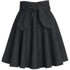 Chicwish Delight in Dots A-line Skirt ($42) ❤ liked on Polyvore featuring skirts, multi, polka dot skirt, a line polka dot skirt, black skirt, knee length a line skirt and a line skirt