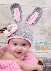 Ravelry: Chunky Bunny Hat With Flower for Little Girl - Crochet PDF Pattern pattern by Ira Rott