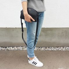 tifmys - A.P.C. Half-moon bag, H&M denim & Adidas Superstar sneakers.