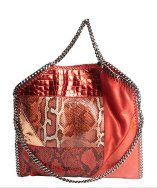 Stella McCartneyred and orange faux suede animal print accent 'Falab' braided chain detail shoulder bag