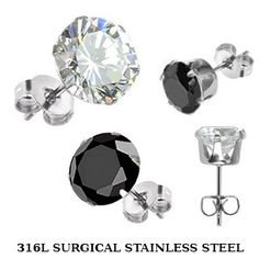 Shooting Star - Surgical Stainless Steel Stud Earrings with Clear or Black Cubic Zirconias. #BuyBlueSteel #Jewelry