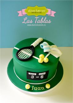 Tarta tenis - Dulces Ilusiones Las Tablas Decors Pate A Sucre, Tennis Cake, Sports Themed Cakes, Dad Cake, Sport Cakes, Funny Cake, My Birthday Cake, Gift Cake, Cake Decorating Techniques