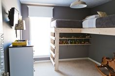 built in basement loft beds? Can put twins underneath if we need them, but will double as hang out space.