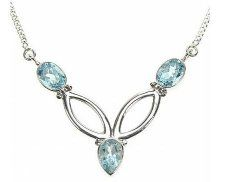 Sterling silver, genuine blue topaz necklace. Size 18 inches length. Center piece size 4.5cm x 3.5cm. This necklace comes complete with presentation gift box. Price £39.99.