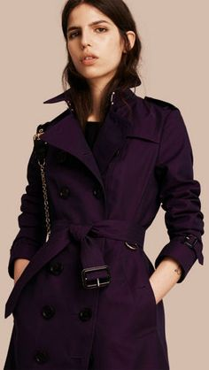 Cotton Gabardine Trench Coat Dark Purple