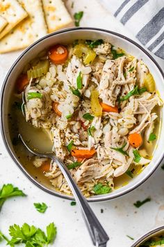 As the days get colder, warm up with a bowl of Chicken and Barley Soup, made with carrots, onions, celery, chicken breasts, and pearled barley. #chickensoup #barley #soup