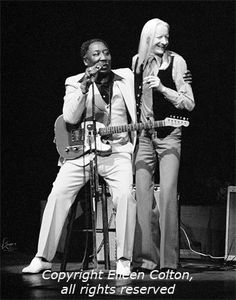 Muddy Waters & Johnny Winter.  Check out Muddy's #Telecaster!
