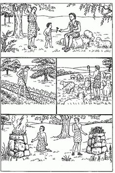 Adam And Eve Craft, Kain Und Abel, Claudia Rodrigues, Cain Y Abel, Coloring Books, Coloring Pages, Sunday School Projects, Vintage Borders, Godchild