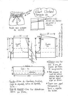 Short moClochard - DIY - molde, corte e costura - Marlene Mukai Sewing Shorts, Diy Shorts, Sewing Clothes, Diy Clothes, Skirt Sewing, Fabric Sewing, Dress Sewing Patterns, Sewing Patterns Free, Free Sewing
