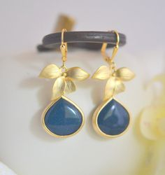 SALE Gold Orchid and Navy Blue Stone Drop Earrings. by RusticGem