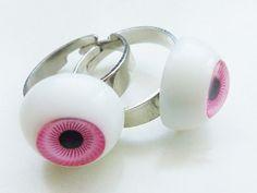 Pink Eyeball Ring  Pastel Goth by milkteafashion on Etsy, €6.00
