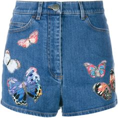 Valentino Butterfly Embroidered Denim Shorts (35 400 ZAR) ❤ liked on Polyvore featuring shorts, lullabies, print shorts, patterned shorts, high rise shorts, high rise denim shorts and highwaisted jean shorts
