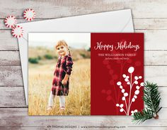 Berry Photo Holiday Card - Photo Christmas Card - Red Berries - Red Holiday Card - New Years Photo Card - Winter Berries - WH174 by KMThomasDesigns on Etsy