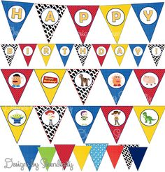 Toy Story Banner Set Happy Birthday Blank Pennants And Charcaters On Flags
