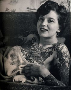 Vintage photographs reveal incredible head-to-toe tattoos on women in the Twenties, Thirties and Forties
