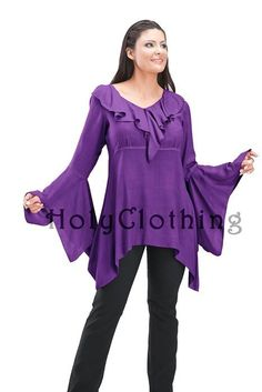 Shop Aurora Boho V-Neck Medieval Top Shirt In Purple Fuchsia: http://holyclothing.com/index.php/aurora-boho-ruffle-v-neck-handkerchief-cuff-medieval-top-shirt.html At $29.99. Repins are always appreciated :) #holyclothing #fashion