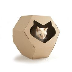 Kittypod Geodome by Elizabeth Paige Smith: Made of industrial strength corrugated cardboard. Find it here http://tinyurl.com/bp8u84a  $54. #Cats #Kittypod #Geodome #Cat_House