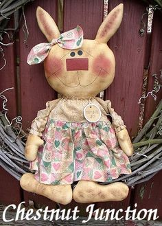 $1.99 Bunny Jo EPATTERN...primitive country spring cloth doll easter rabbit by chestnut junction