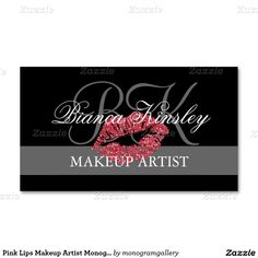 New and good---Pink Lips Makeup Artist Monograms Business Card