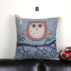 Cute owl pillow for couch decorative home animal linen throw pillow