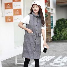 Long V Winter Coat Women Sleeveless Down Jacket Slim Female Quilted Coat Femme Korean Waistcoat Winter Coats Women, Coats For Women, Long Vests, Winter Essentials, Student Fashion, Mandarin Collar, Korean, Plus Size, Slim