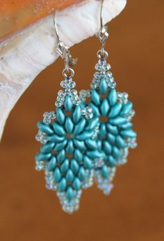 Teal Superduo Earrings by AngelWhispersJewelry on Etsy