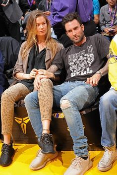Behati Prinsloo wearing Adidas Yeezy Boost 350, Current/Elliott Stiletto Skinny Jeans