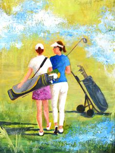 """Acrylic on canvas 24"""" x 18"""". Lady golfers sharing a treasured moment on the course in the great outdoor weather."""