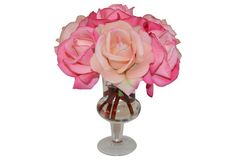 A glass urn makes an elegant complement to this arrangement of pink silk roses, perfect for bringing a romantic touch to any room. Silk Roses, Pink Silk, Rose Bouquet, Urn, Accent Decor, Candle Holders, Sculptures, Romantic, Candles