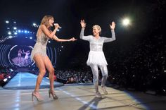 """""""taylorswift: When Ellen DeGeneres walks out in a more sparkly outfit than yours and a tutu."""" // 1989 Tour: LA, night 3"""