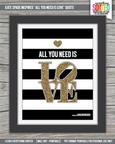 Black Stripes and Glitter All You Need is LOVE by EverythingSorted, $7.00