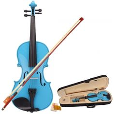 Cool Violins | Violin Buy this New 44 Blue Acoustic Violin Case Bow Rosin for Violin ...