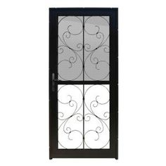 Unique Home Designs 36 in. x 80 in. Coventry Black Recessed Mount All Season Security Door with Self-Storing Glass and Insect Screen, Powder-Coat Black Security Storm Doors, Wrought Iron Security Doors, Steel Security Doors, Security Screen, Brick Molding, Expanded Metal, Metal Screen, Vintage Screen Doors, Unique House Design