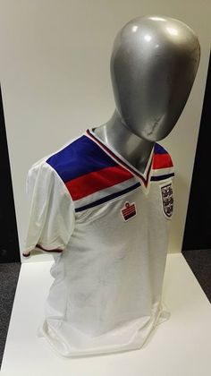 Peter Barnes October 1980 England B match worn shirt, from their 1 - 0 win against the USA. England Kit, Peter Barnes, October, Usa, Shirts, Dress Shirts, Shirt, U.s. States