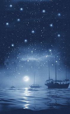 """Rain of stars"" Hong Kong bay, photo by Chinese photographer FAN HO (born Fan Ho, Urban Life, Stars And Moon, Night Skies, Shades Of Blue, Shanghai, Illustrations, Scenery, Fantasy"