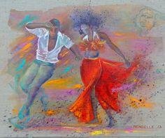 Les danseurs de salsa - Cuba www.francoise-mengelle.com Cuba Music, Salsa Music, Dance Paintings, Music Painting, Music Drawings, Cute Drawings, Danse Latino, Cuba Salsa, Danse Salsa