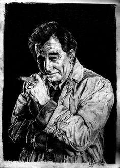 Columbo - with Peter Falk Detective Series, Police Detective, Columbo Peter Falk, Fictional Heroes, Tv Detectives, Poster Pictures, Old Tv Shows, Celebrity Portraits, Tv Actors