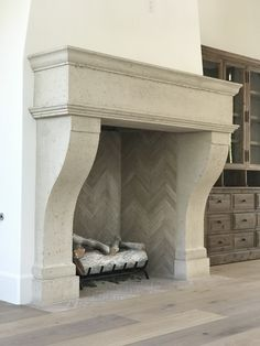 Newest Images Stone Fireplace surround Strategies Stacked stone fireplaces are undeniably gorgeous and can turn what would otherwise be a plain, borin Brick Fireplace Mantles, Modern Stone Fireplace, Cast Stone Fireplace, Stone Fireplace Surround, Stacked Stone Fireplaces, Stone Mantel, Limestone Fireplace, Custom Fireplace, Concrete Fireplace